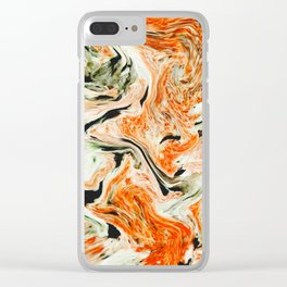 Modern orange and green marble Clear iPhone Case