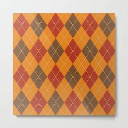 Traditional Orange Red and Black Argyle Plaid Print Metal Print