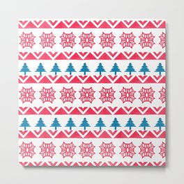 Colorful pink blue watercolor scandinavian pattern Metal Print