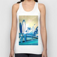 surfboard Tank Tops featuring surfboard  background on sky background by Doomko