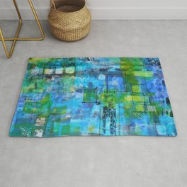 Abstract Blue Blue Rug
