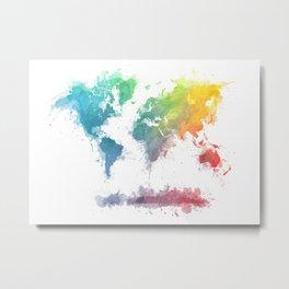 World Map splash 2 Metal Print