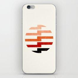 Minimalist Mid Century Circle Frame Burnt Sienna Zig Zag Colorful Lightning Bolt Geometric Pattern iPhone Skin