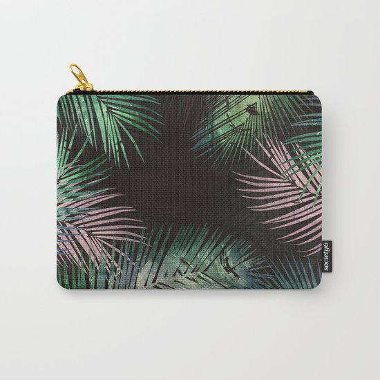 black tropical leaves Carry-All Pouch