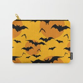 Abstract orange yellow black halloween bats animal pattern Carry-All Pouch
