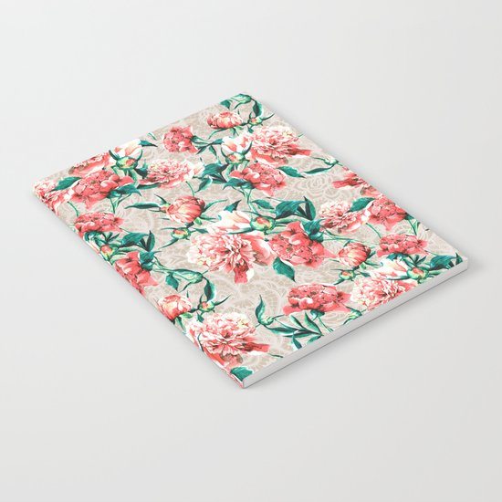 Peonies with lace effect Notebook