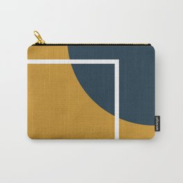 Fusion 4: Minimalist Geometric Abstract in Dark Mustard Yellow, Navy Blue, and White Carry-All Pouch