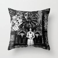 horror Throw Pillows featuring Horror by alexflasher