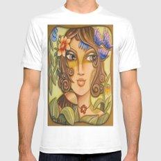 Mona Lisa's Butterflys White MEDIUM Mens Fitted Tee