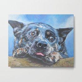 Australian Cattle Dog portrait by L.A.Shepard fine art painting blue heeler Metal Print