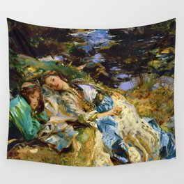 1907 Classical Masterpiece 'The Brook' by John Singer Sargent Wall Tapestry