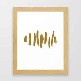 Gold Minimalist Brush Strokes Framed Art Print