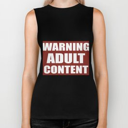 Warning adult content red sign Biker Tank