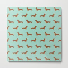 Red Dachshund Chocolate Tan Sausage Dog on Mint Green Background Dog Pattern for Dog Lover Metal Print