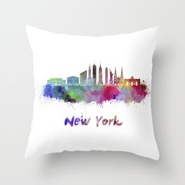 New York V3 skyline in watercolor Throw Pillow