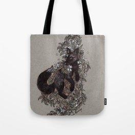 Black Fox and Star Flower Jasmine Tangle Tote Bag