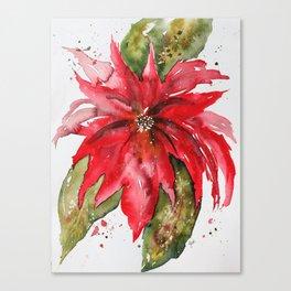 Bright Red Poinsettia Watercolor Canvas Print
