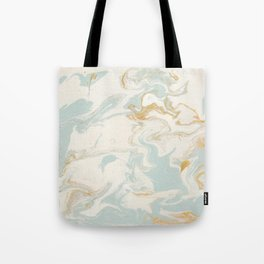 Marble - Cream & Blue Tote Bag