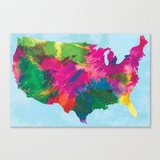Watercolor U.S.A. Map Canvas Print