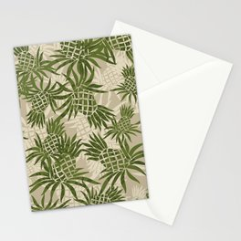 Pineapple Camo and Pineapple Luau Hawaiian Hula Girl Prints Stationery Cards
