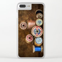 Old Cotton Bobbins Clear iPhone Case