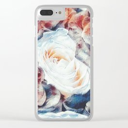 Roses print in retro drawing style watercolor digital Clear iPhone Case