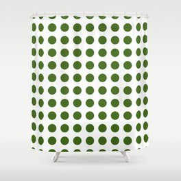 Simply Polka Dots in Jungle Green Shower Curtain