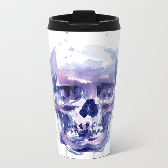 Skull Watercolor Purple Colorful Metal Travel Mug