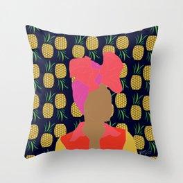 Pineapple Bawse Babe (Blue) Throw Pillow