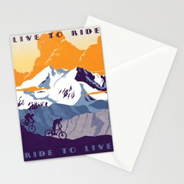 live to ride, ride to live retro cycling poster Stationery Cards