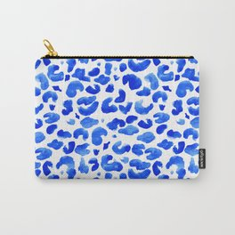 Leopard Print Blue and White Carry-All Pouch