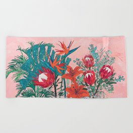 The Domesticated Jungle - Floral Still Life Beach Towel