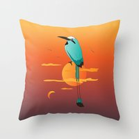 oklahoma Throw Pillows featuring Oklahoma Bird by HK Chik