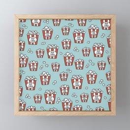 Movies and popcorn night food pop art pattern blue pattern Framed Mini Art Print
