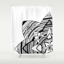 Wild black mandala on white Shower Curtain