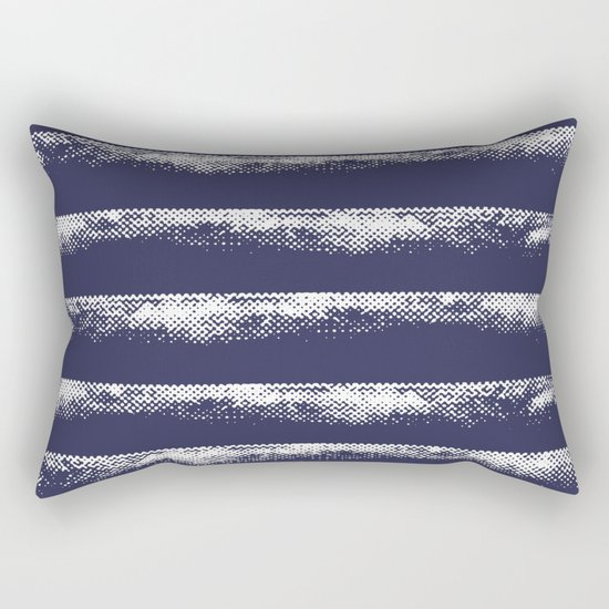 Irregular Stripes Dark Blue Rectangular Pillow