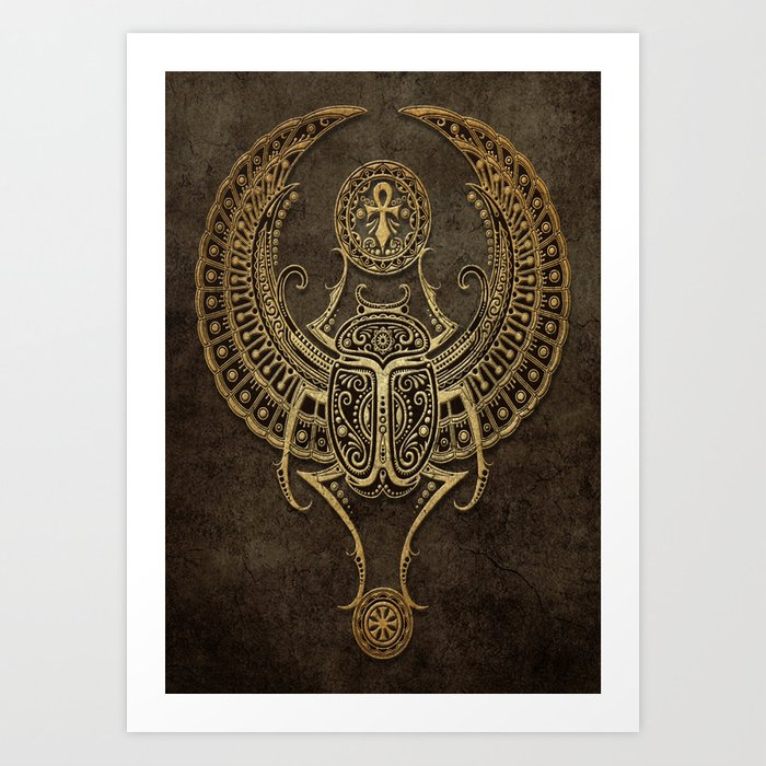 Stone Winged Egyptian Scarab Beetle With Ankh Art Print By