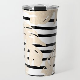 Simply Tropical White Gold Sands Palm Leaves on Stripes Travel Mug