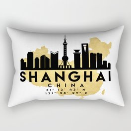 SHANGHAI CHINA SILHOUETTE SKYLINE MAP ART Rectangular Pillow