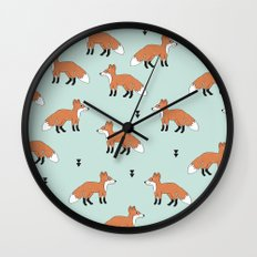 Cute fall woodland smiling foxes illustration pattern Wall Clock
