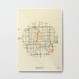 Beijing Map Moon Metal Print