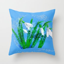 Digital Watercolor snowdrops Throw Pillow