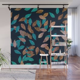 Trendy navy blue rose gold teal leaves floral Wall Mural
