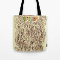 portland Tote Bags featuring Portland = Beards by Rachel Caldwell