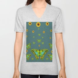 BLUE-GREEN-YELLOW PATTERNED MOTHS YELLOW SUNFLOWERS Unisex V-Neck