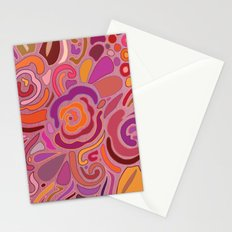 Rose fragments, pink, purple and orange Stationery Cards