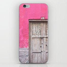 Grey Door on Pink Wall (Retro and Vintage Urban, architecture photography) iPhone Skin