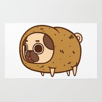 potato Area & Throw Rugs featuring Puglie Potato by Puglie Pug