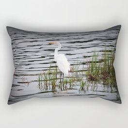 Egret Patiently Waiting Rectangular Pillow