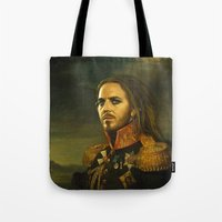 tim shumate Tote Bags featuring Tim Minchin - replaceface by replaceface